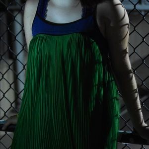 Pleated green & blue chiffon dress